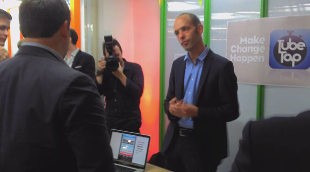 TubeTap is presented to Ed Vaizy, the Communication Minister